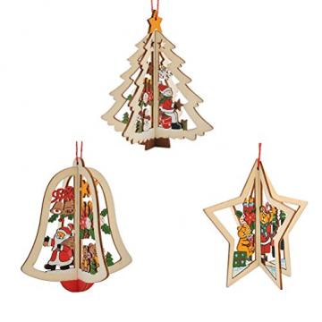 Tinksky 9 Stücke Holz Christbaumschmuck Anhänger Weihnachtsbaum Weihnachtsglocke Weihnachtsstern Holz Weihnachtsdekoration - 1