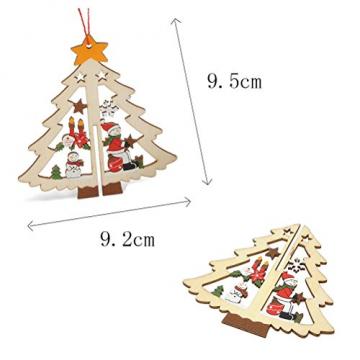 Tinksky 9 Stücke Holz Christbaumschmuck Anhänger Weihnachtsbaum Weihnachtsglocke Weihnachtsstern Holz Weihnachtsdekoration - 6