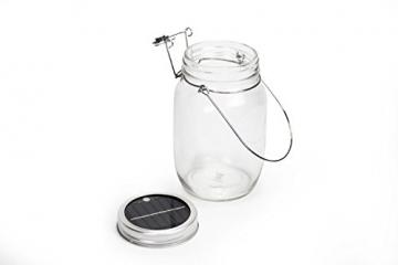 Trendario - LED Solarlampe im Einmachglas, Solarlaterne als perfekte Gartenleuchte - Solar Sun Jar, Sonnen Hängeleuchte aus Glas - Solarglas mit extra langer Leuchtdauer - 3