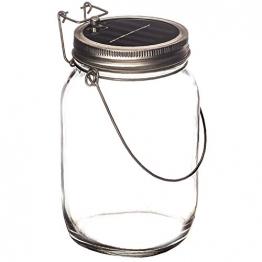 Trendario - LED Solarlampe im Einmachglas, Solarlaterne als perfekte Gartenleuchte - Solar Sun Jar, Sonnen Hängeleuchte aus Glas - Solarglas mit extra langer Leuchtdauer - 1