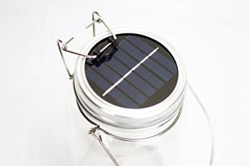 Trendario - LED Solarlampe im Einmachglas, Solarlaterne als perfekte Gartenleuchte - Solar Sun Jar, Sonnen Hängeleuchte aus Glas - Solarglas mit extra langer Leuchtdauer - 4