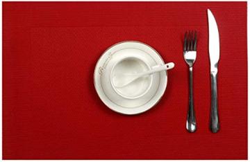 U'Artlines 6er Set Platzsets Hitzebeständigen Waschbaren Vinyl Tischsets 30 * 45cm (6er Platzsets, Rot) - 2