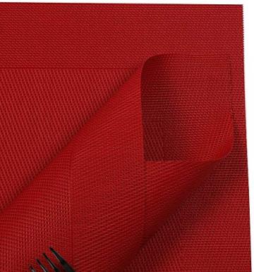 U'Artlines 6er Set Platzsets Hitzebeständigen Waschbaren Vinyl Tischsets 30 * 45cm (6er Platzsets, Rot) - 3