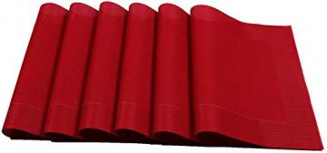 U'Artlines 6er Set Platzsets Hitzebeständigen Waschbaren Vinyl Tischsets 30 * 45cm (6er Platzsets, Rot) - 4