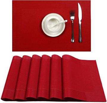 U'Artlines 6er Set Platzsets Hitzebeständigen Waschbaren Vinyl Tischsets 30 * 45cm (6er Platzsets, Rot) - 1