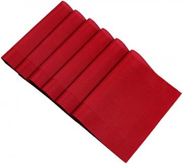U'Artlines 6er Set Platzsets Hitzebeständigen Waschbaren Vinyl Tischsets 30 * 45cm (6er Platzsets, Rot) - 5
