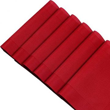 U'Artlines 6er Set Platzsets Hitzebeständigen Waschbaren Vinyl Tischsets 30 * 45cm (6er Platzsets, Rot) - 6