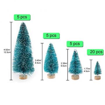 Ulikey 35 Stück Künstlicher Weihnachtsbaum, Mini Grün Tannenbaum Sisal Weihnachtsbaum Modell Bäume Schneetannen Weihnachten Miniatur Deko mit Tannenzapfen für Tischdeko, DIY, Schaufenster - 2