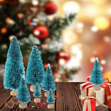 Ulikey 35 Stück Künstlicher Weihnachtsbaum, Mini Grün Tannenbaum Sisal Weihnachtsbaum Modell Bäume Schneetannen Weihnachten Miniatur Deko mit Tannenzapfen für Tischdeko, DIY, Schaufenster - 4