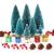 Ulikey 35 Stück Künstlicher Weihnachtsbaum, Mini Grün Tannenbaum Sisal Weihnachtsbaum Modell Bäume Schneetannen Weihnachten Miniatur Deko mit Tannenzapfen für Tischdeko, DIY, Schaufenster - 1