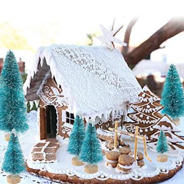 Ulikey 35 Stück Künstlicher Weihnachtsbaum, Mini Grün Tannenbaum Sisal Weihnachtsbaum Modell Bäume Schneetannen Weihnachten Miniatur Deko mit Tannenzapfen für Tischdeko, DIY, Schaufenster - 7