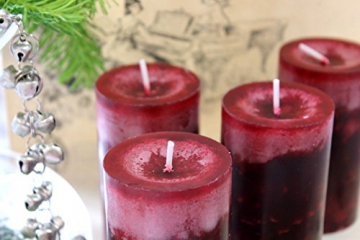 Unbekannt 4 Stumpenkerzen Kerzen Bordeaux Rot Weinrot 6cm Hochzeit Tischdeko Weihnachten Advent Kerze Deko - 3