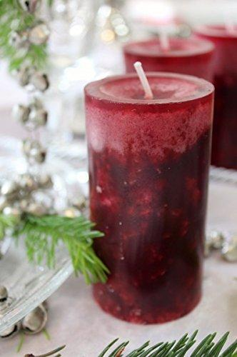 Unbekannt 4 Stumpenkerzen Kerzen Bordeaux Rot Weinrot 6cm Hochzeit Tischdeko Weihnachten Advent Kerze Deko - 4