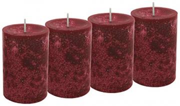 Unbekannt 4 Stumpenkerzen Kerzen Bordeaux Rot Weinrot 6cm Hochzeit Tischdeko Weihnachten Advent Kerze Deko - 1