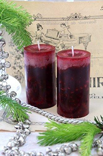 Unbekannt 4 Stumpenkerzen Kerzen Bordeaux Rot Weinrot 6cm Hochzeit Tischdeko Weihnachten Advent Kerze Deko - 5