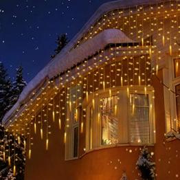 Uping 400 LED Lichtervorhang für innen und außen, Wasserdichte Eiszapfen Lichterketten, Gartenlichterkette für Patio, Garten, Rasen, Partei, Haus, Feiertagsdekoration (Warmweiß) - 1