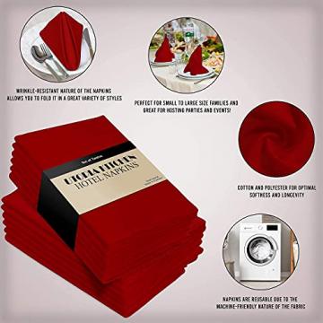 Utopia Kitchen - 12er-Set Stoffservietten, Servietten aus Baumwolle 46 x 46 cm, Rot - 5