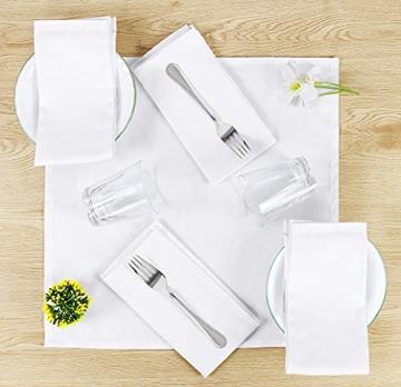 Utopia Kitchen - Dinnerservietten aus Baumwollmischung (12er Pack, 46 x 46 cm) - Weich und bequem - Langlebige Hotelqualität - Ideal für Veranstaltungen und den regelmäßigen Gebrauch zu Hause (Weiß) - 2
