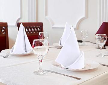Utopia Kitchen - Dinnerservietten aus Baumwollmischung (12er Pack, 46 x 46 cm) - Weich und bequem - Langlebige Hotelqualität - Ideal für Veranstaltungen und den regelmäßigen Gebrauch zu Hause (Weiß) - 3