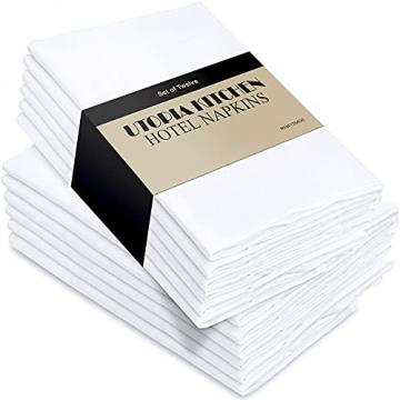 Utopia Kitchen - Dinnerservietten aus Baumwollmischung (12er Pack, 46 x 46 cm) - Weich und bequem - Langlebige Hotelqualität - Ideal für Veranstaltungen und den regelmäßigen Gebrauch zu Hause (Weiß) - 1