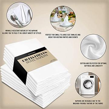 Utopia Kitchen - Dinnerservietten aus Baumwollmischung (12er Pack, 46 x 46 cm) - Weich und bequem - Langlebige Hotelqualität - Ideal für Veranstaltungen und den regelmäßigen Gebrauch zu Hause (Weiß) - 5