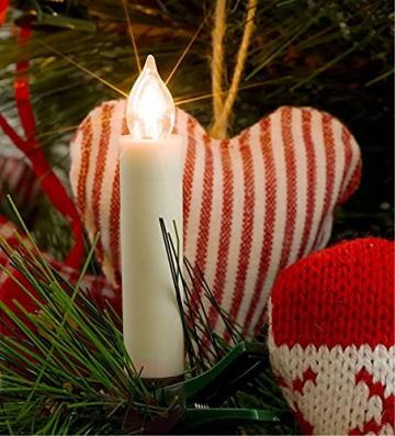VASEN LED Christbaumkerzen Kabellos mit Fernbedienung Warmweiß Weihnachtsbaumkerzen Flammenlos Weihnachtskerzen 30er - 2