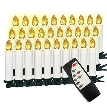 VASEN LED Christbaumkerzen Kabellos mit Fernbedienung Warmweiß Weihnachtsbaumkerzen Flammenlos Weihnachtskerzen 30er - 1