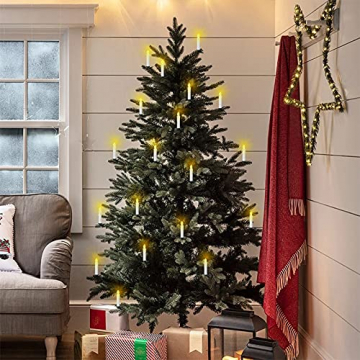 VASEN LED Christbaumkerzen Kabellos mit Fernbedienung Warmweiß Weihnachtsbaumkerzen Flammenlos Weihnachtskerzen 30er - 6