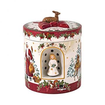 """Villeroy und Boch - Christmas Toy's Windlicht """"Christkind"""" groß rund, dekoratives Geschenkpaket aus Hartporzellan, für Teelichter geeignet, integrierte Spieluhr, bunt - 1"""