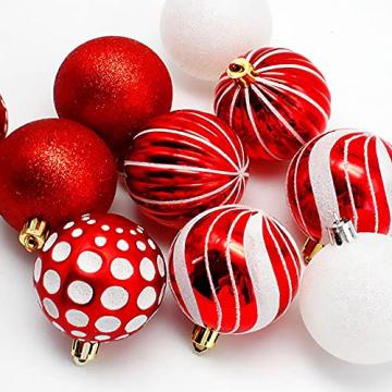 VONDYU Weihnachtskugeln Set,Weihnachtsbaumkugeln Weiß/Rot/Grün,Weihnachtsbaum Christbaumschmuck,30 Pack Glitzernd Christbaumkugeln Weihnachten Deko Anhänger Kunststoff Weihnachtsdeko 6 cm Party Kugeln - 5
