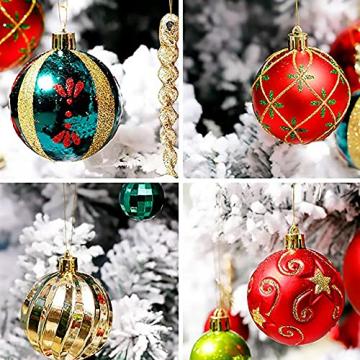 VONDYU Weihnachtskugeln Set,Weihnachtsbaumkugeln Weiß/Rot/Grün,Weihnachtsbaum Christbaumschmuck,30 Pack Glitzernd Christbaumkugeln Weihnachten Deko Anhänger Kunststoff Weihnachtsdeko 6 cm Party Kugeln - 6