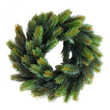 VOSAREA 30cm Weihnachtskranz Künstlicher Wandkranz Türkranz Kiefe Dekokranz Tannenkranz Weihnachtsgirlande Kränze Deko für Weihnachten Hochzeit Haus DIY Ornament (Grün) - 3