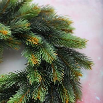 VOSAREA 30cm Weihnachtskranz Künstlicher Wandkranz Türkranz Kiefe Dekokranz Tannenkranz Weihnachtsgirlande Kränze Deko für Weihnachten Hochzeit Haus DIY Ornament (Grün) - 4