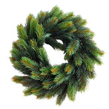 VOSAREA 30cm Weihnachtskranz Künstlicher Wandkranz Türkranz Kiefe Dekokranz Tannenkranz Weihnachtsgirlande Kränze Deko für Weihnachten Hochzeit Haus DIY Ornament (Grün) - 1
