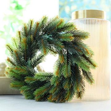 VOSAREA 30cm Weihnachtskranz Künstlicher Wandkranz Türkranz Kiefe Dekokranz Tannenkranz Weihnachtsgirlande Kränze Deko für Weihnachten Hochzeit Haus DIY Ornament (Grün) - 6
