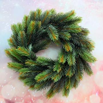 VOSAREA 30cm Weihnachtskranz Künstlicher Wandkranz Türkranz Kiefe Dekokranz Tannenkranz Weihnachtsgirlande Kränze Deko für Weihnachten Hochzeit Haus DIY Ornament (Grün) - 7