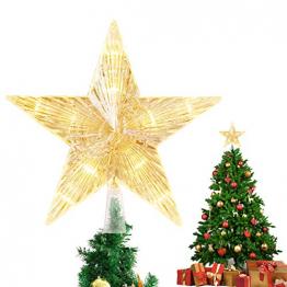 Weihnachtsbaum Stern,Topper Lichter mit 10 LED ,Weihnachtsbaumspitze glitzernder,baumkronen Lampe,beleuchtete Sterne,funkelnden Sterne,Weihnachtsbaumspitze Dekoration,Weihnachten Dekoration(15cm) - 1