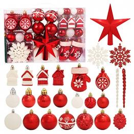 Weihnachtsbaumschmuck-Set, ROSELEAF 130Stück Rot und Weiß Weihnachtskugeln Baumschmuck mit Stern Baumspitze für Weihnachten Hochzeit Party - 1