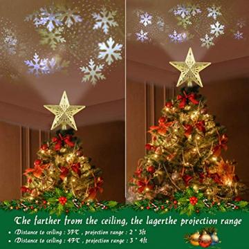 Weihnachtsbaumspitze Stern mit LED Projektion von dynamischen Schneeflocke Lichteffekte, goldene Glitter Christbaumspitze Weihnachtsbaumdeko, Netzteilbetriebene Tannenbaumspitze Weihnachtsbaumschmuck - 2