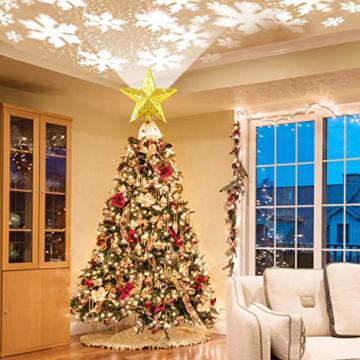 Weihnachtsbaumspitze Stern mit LED Projektion von dynamischen Schneeflocke Lichteffekte, goldene Glitter Christbaumspitze Weihnachtsbaumdeko, Netzteilbetriebene Tannenbaumspitze Weihnachtsbaumschmuck - 3
