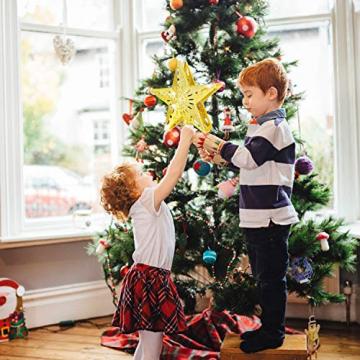 Weihnachtsbaumspitze Stern mit LED Projektion von dynamischen Schneeflocke Lichteffekte, goldene Glitter Christbaumspitze Weihnachtsbaumdeko, Netzteilbetriebene Tannenbaumspitze Weihnachtsbaumschmuck - 5