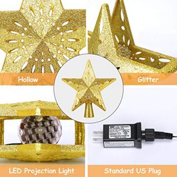 Weihnachtsbaumspitze Stern mit LED Projektion von dynamischen Schneeflocke Lichteffekte, goldene Glitter Christbaumspitze Weihnachtsbaumdeko, Netzteilbetriebene Tannenbaumspitze Weihnachtsbaumschmuck - 6