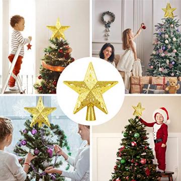 Weihnachtsbaumspitze Stern mit LED Projektion von dynamischen Schneeflocke Lichteffekte, goldene Glitter Christbaumspitze Weihnachtsbaumdeko, Netzteilbetriebene Tannenbaumspitze Weihnachtsbaumschmuck - 7