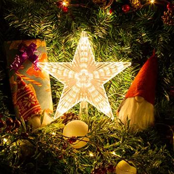 Weihnachtsbaumspitze Topper Star Warm White Light Weihnachtsbaum Deko für Weihnachten Ferienhaus Fit für allgemeine Größe Weihnachtsbaum, 8,7 Zoll - 2