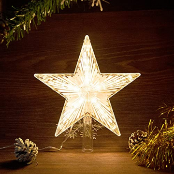 Weihnachtsbaumspitze Topper Star Warm White Light Weihnachtsbaum Deko für Weihnachten Ferienhaus Fit für allgemeine Größe Weihnachtsbaum, 8,7 Zoll - 3