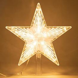 Weihnachtsbaumspitze Topper Star Warm White Light Weihnachtsbaum Deko für Weihnachten Ferienhaus Fit für allgemeine Größe Weihnachtsbaum, 8,7 Zoll - 1