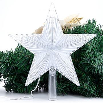 Weihnachtsbaumspitze Topper Star Warm White Light Weihnachtsbaum Deko für Weihnachten Ferienhaus Fit für allgemeine Größe Weihnachtsbaum, 8,7 Zoll - 4