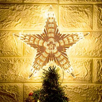 Weihnachtsbaumspitze Topper Star Warm White Light Weihnachtsbaum Deko für Weihnachten Ferienhaus Fit für allgemeine Größe Weihnachtsbaum, 8,7 Zoll - 5