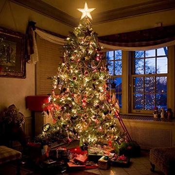 Weihnachtsbaumspitze Topper Star Warm White Light Weihnachtsbaum Deko für Weihnachten Ferienhaus Fit für allgemeine Größe Weihnachtsbaum, 8,7 Zoll - 6