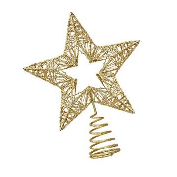 Weihnachtsbaumspitze, Weihnachtsbaum Christbaumspitze Stern Glitzer Metall Baum Stern Weihnachtsbaum Stern Topper Weihnachtsbaumspitze Glitzernder, Beleuchtete Sterne, Weihnachtsbaumspitze Dekoration - 3